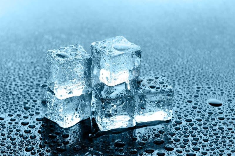 Cubi di ghiaccio bagnati su priorità bassa nera immagine stock libera da diritti