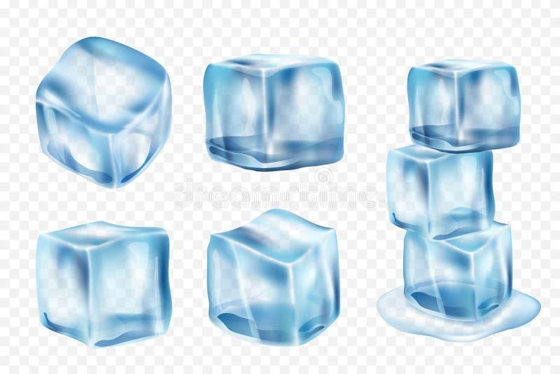 Cubi di ghiaccio di fusione Congeli l'acqua con la riflessione leggera e spruzza il modello realistico del ghiaccio di vettore royalty illustrazione gratis