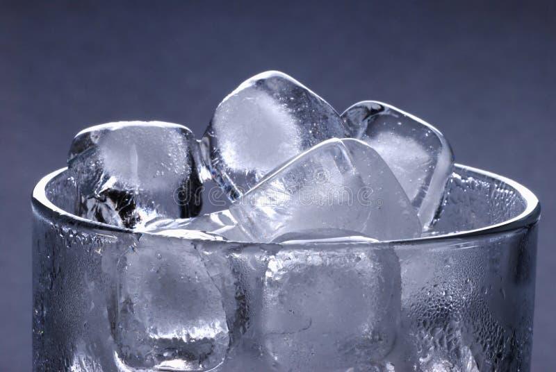 Cubi di ghiaccio in vetro immagini stock