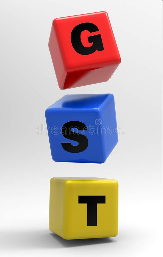 Cubi di GST 3d nell'aria 3d rendono l'illustrazione illustrazione vettoriale