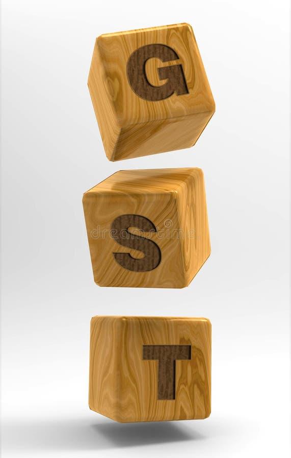 Cubi di GST 3d nell'aria 3d rendono l'illustrazione illustrazione di stock