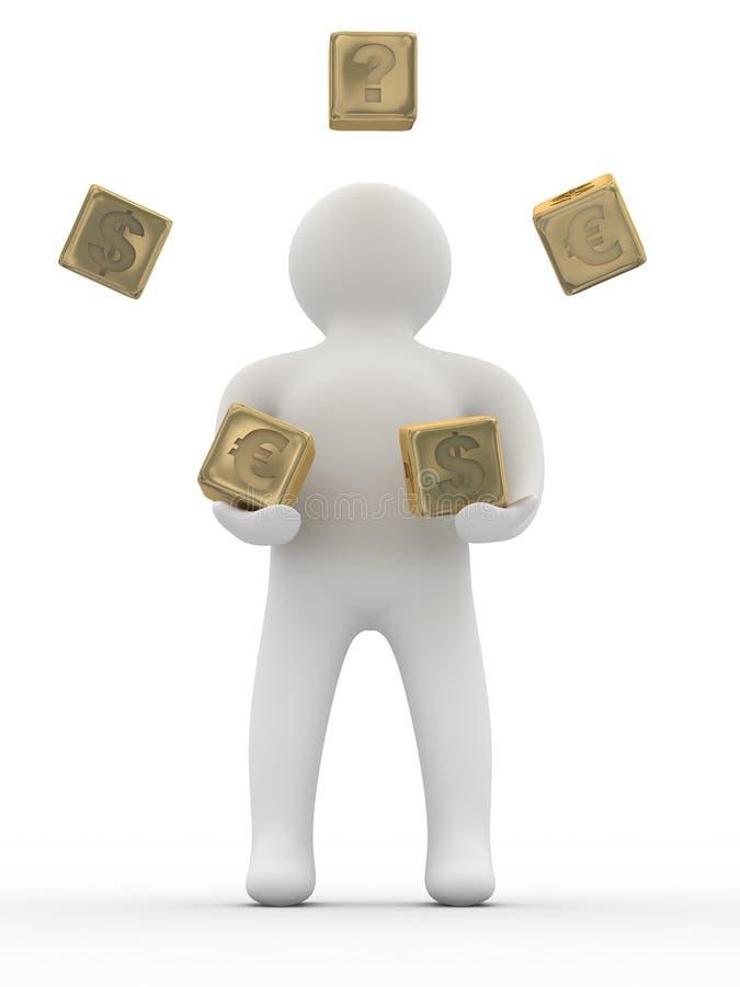 Cubi di lancio della persona. illustrazione vettoriale