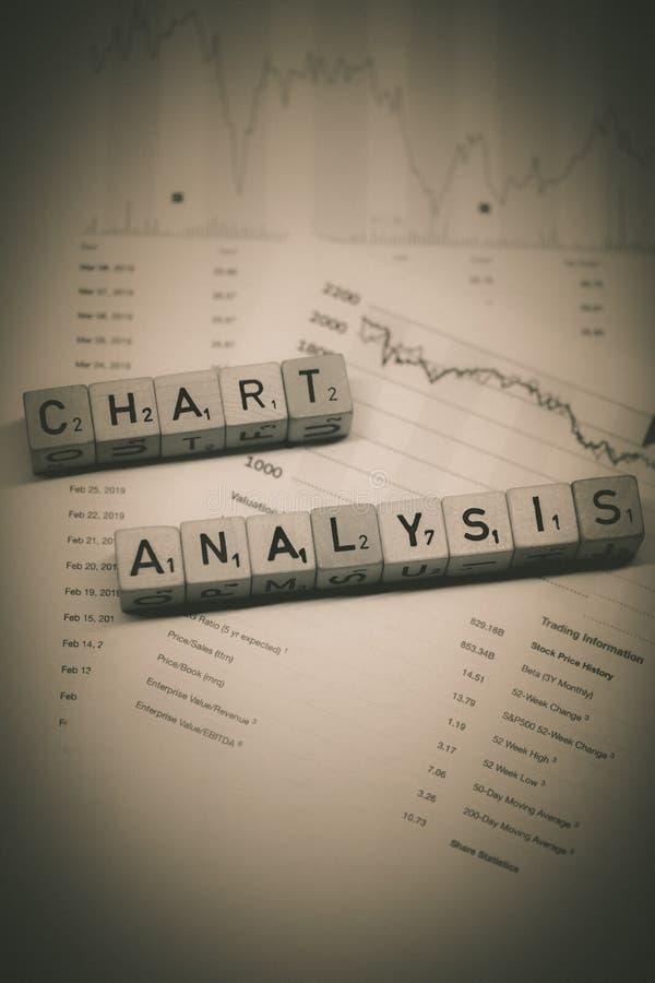 Cubi di legno che mostrano l'analisi del grafico di parole su un posto di lavoro di affari immagine stock libera da diritti