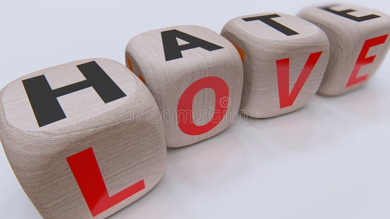 Cubi di legno di odio e di amore fotografia stock libera da diritti