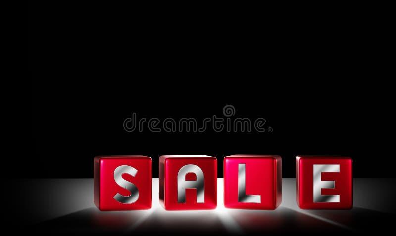 Cubi di vendita con progettazione leggera su fondo nero 3D rendere illustrazione di stock
