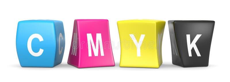 Cubi divertenti di CMYK illustrazione di stock