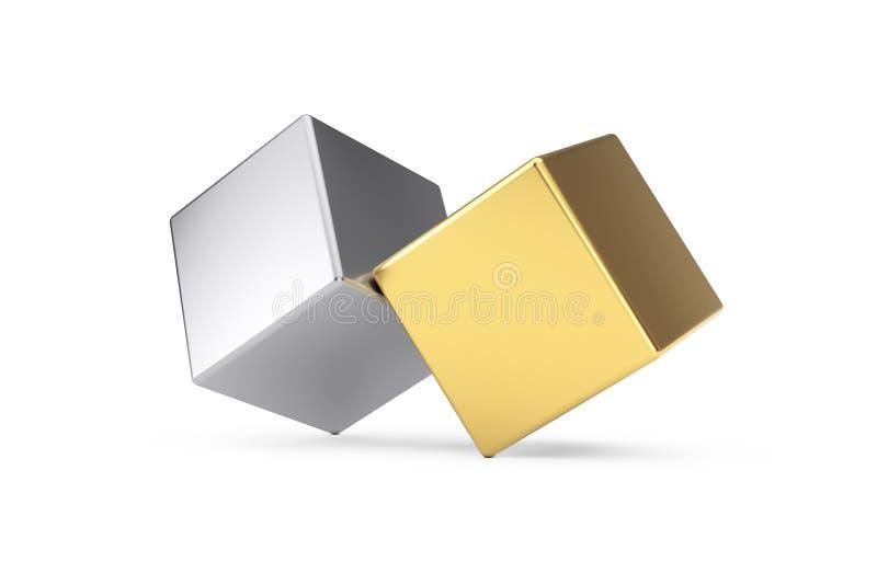 Cubi dorati e d'argento del metallo nel concetto dell'equilibrio rappresentazione 3d illustrazione di stock