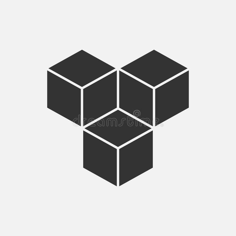 Cubi il concetto isometrico di logo, illustrazione di vettore 3d Stile piano di progettazione Costruzione del cubo Modello del se illustrazione di stock
