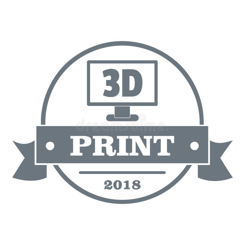 Cubi il logo di stampa 3d, stile grigio semplice illustrazione di stock