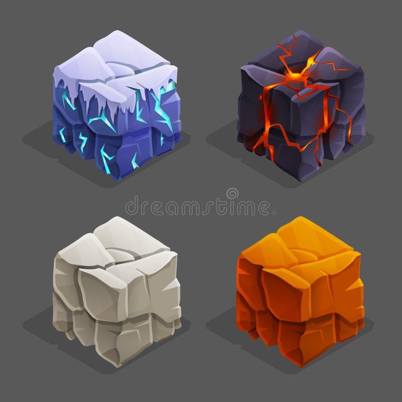 Cubi isometrici del mattone della natura del gioco messi Il cubo, la pietra ed il cubetto di ghiaccio della lava di vettore proge illustrazione di stock