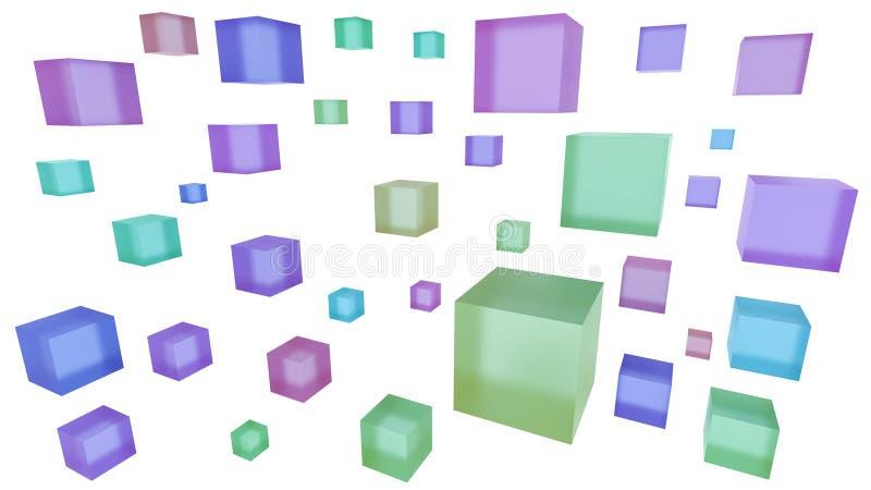 Cubi multicolori isolati su bianco 3d astratti rendono il fondo royalty illustrazione gratis