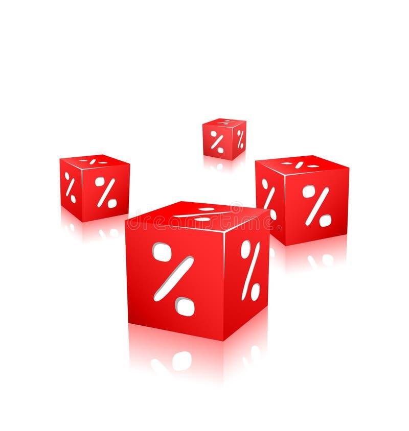 Cubi rossi con il contrassegno di percentuale royalty illustrazione gratis
