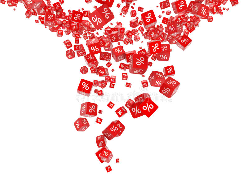 Cubi rossi di caduta con le percentuali illustrazione di stock