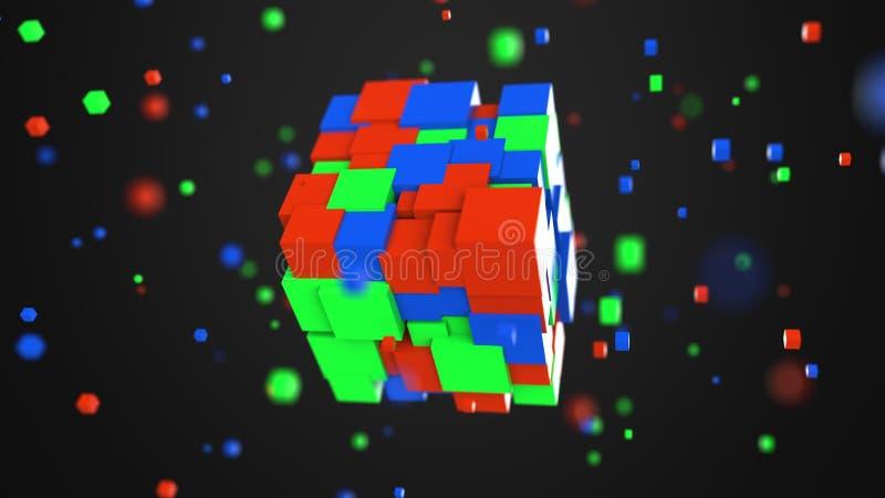Cubi rossi, verdi e blu multipli Modello di colore di RGB o 3D concetti di modello, rappresentazione 3D royalty illustrazione gratis