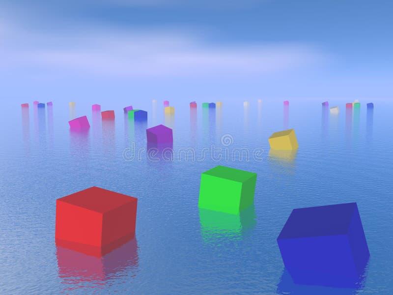 Cubi variopinti che galleggiano - 3D rendono illustrazione di stock