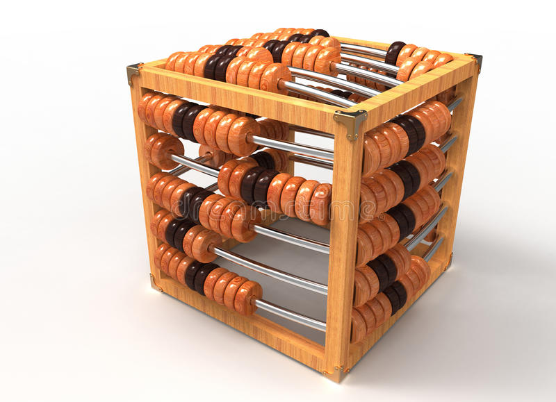 The cubic abacus. Made of polished wood stock illustration