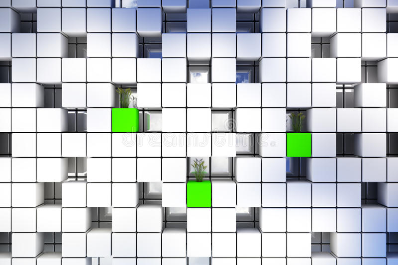Cubic background. Abstract perspective cubic space available for background stock illustration