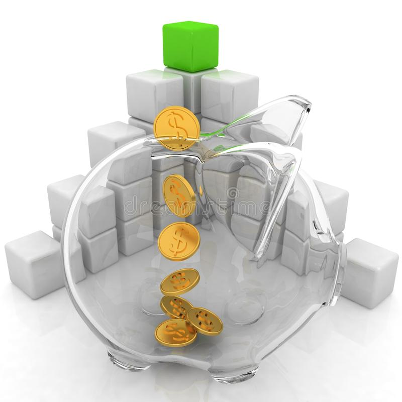Cubic diagram structure and piggy bank. On a white background royalty free illustration
