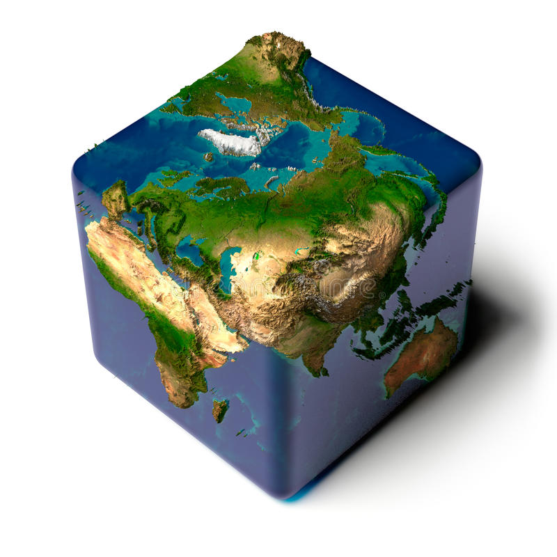 Cubic Earth with translucent ocean vector illustration