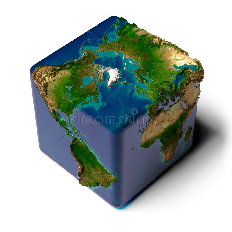 Free Cubic Earth With Translucent Ocean Royalty Free Stock Image - 16669736