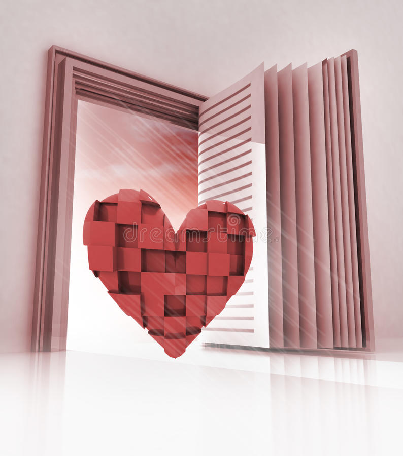 Cubic heart in doorway as open book. Illustration royalty free illustration