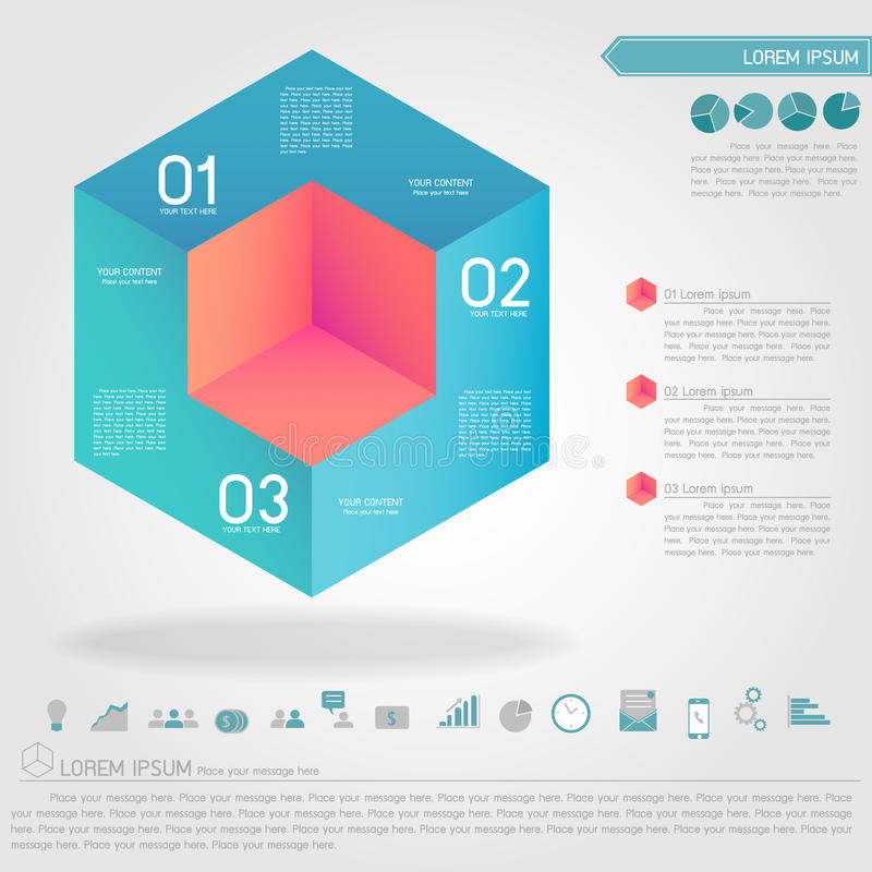 Cubic infographic and business icon. Vector royalty free illustration