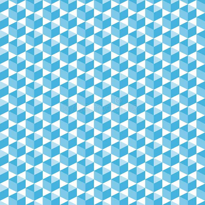 Cubic isometric shapes in blue halftone seamless pattern, simple diagonally arranged geometric forms for print on fabric or. Background for poster, banner or vector illustration