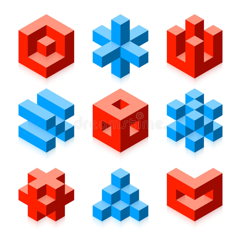 Cubic objects stock illustration