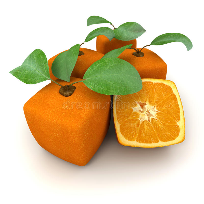 Cubic oranges group. Composition of cubic oranges on a white background stock illustration
