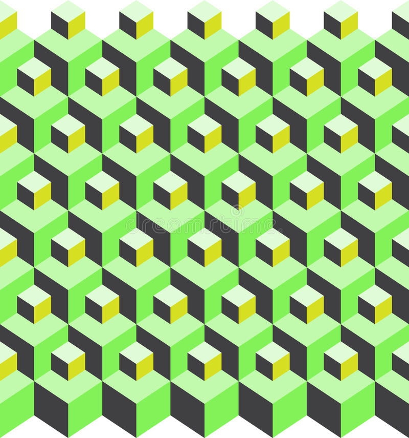 Cubic pattern illusion. Illustration of green cubic pattern illusion stock illustration