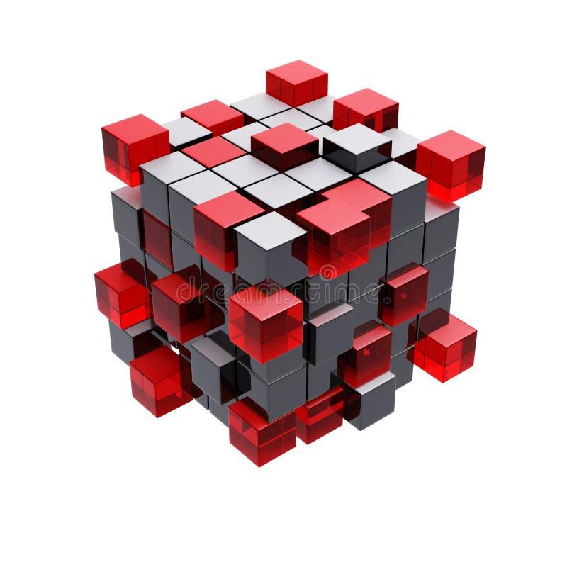 Cubica el modelo aislado construcción 3d ilustración del vector