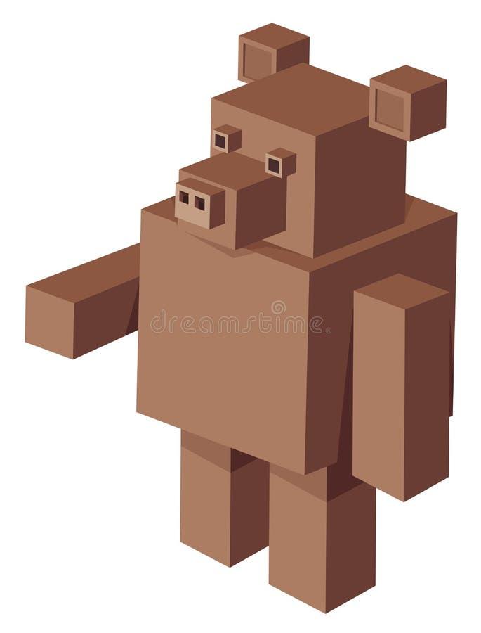 Cubical niedźwiadkowy postać z kreskówki royalty ilustracja