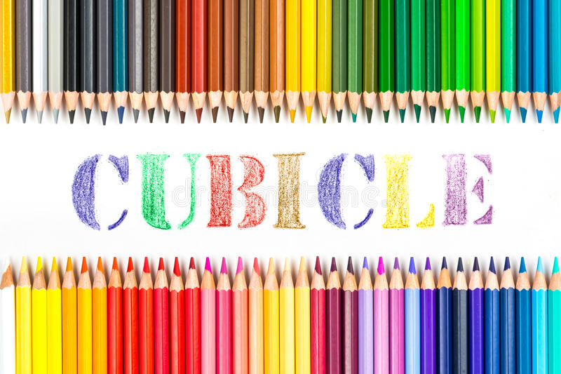 Cubicle drawing by colour pencils stock photos