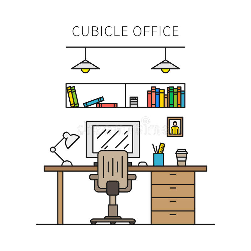 Cubicle office with furniture and equipment vector illustration royalty free illustration