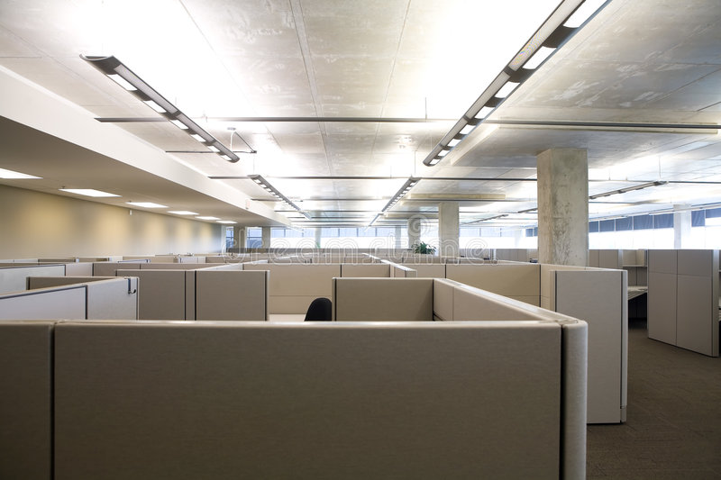 Cubicles in clean modern office royalty free stock photo
