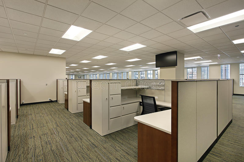 Cubicles in downtown office building royalty free stock images