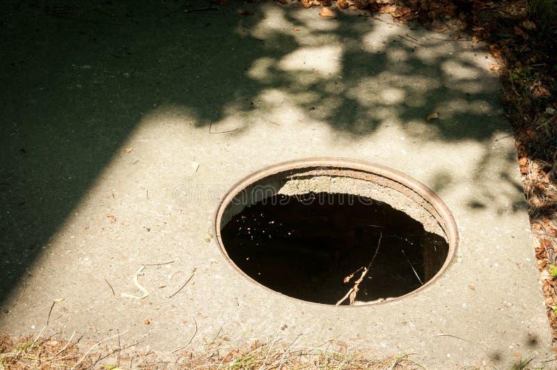 Cubierta abierta peligrosa del agujero de la boca, peligro para la gente que camina en la calle en la ciudad imagen de archivo