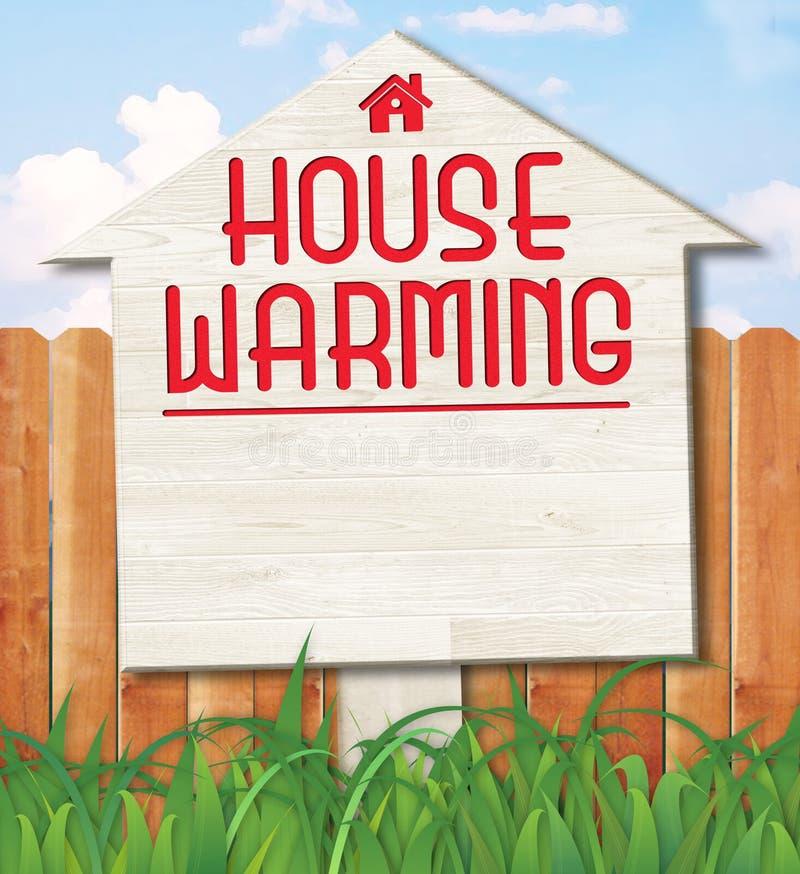 Cubierta Art Sign de la invitación de la casa que se calienta ilustración del vector