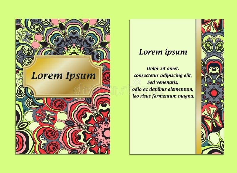 Cubierta colorida con el modelo de la mandala en estilo oriental Diseño del vintage de la tarjeta o del folleto Aviador diseñado  ilustración del vector