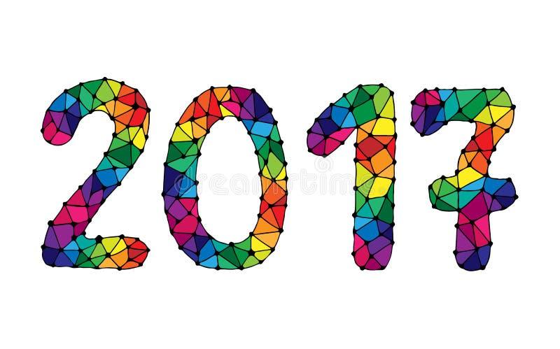 Cubierta colorida del calendario de la Feliz Año Nuevo 2017 libre illustration