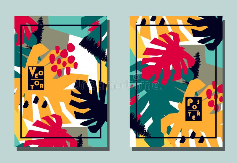 Cubierta con los elementos gráficos - formas abstractas y hojas del monstera Dos aviadores modernos del vector en estilo vanguard libre illustration