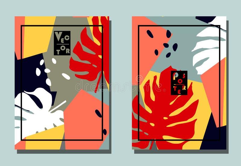 Cubierta con los elementos gráficos - formas abstractas y hojas tropicales Dos aviadores modernos del vector en estilo del collag stock de ilustración
