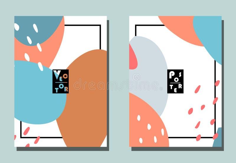 Cubierta con los elementos gráficos - puntos y puntos Azul, gris, rosa, colorspotss beige libre illustration