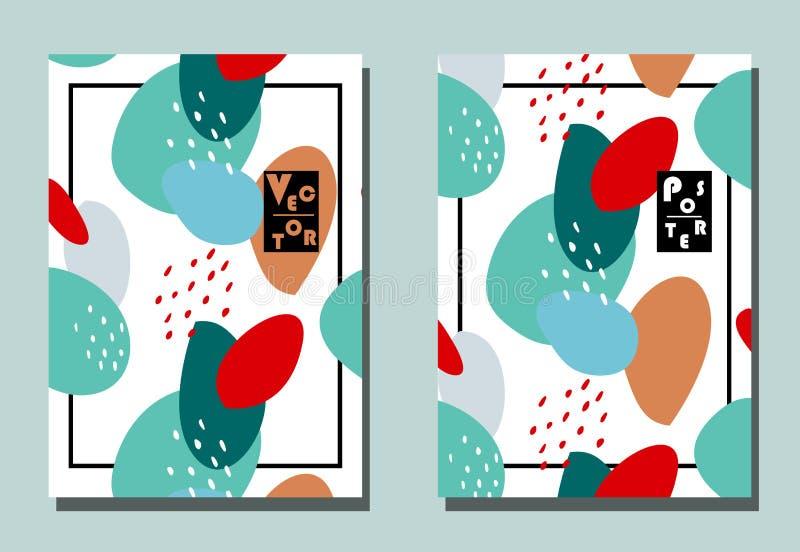 Cubierta con los elementos gráficos - puntos y puntos stock de ilustración
