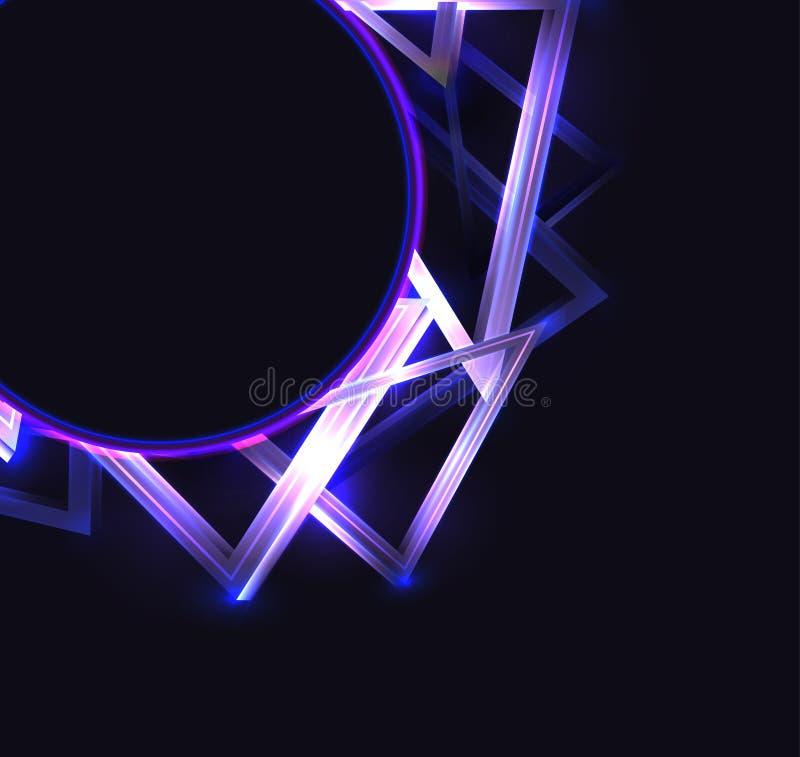 Cubierta cuadrada con el marco redondo con los tri?ngulos de ne?n abstractos y glister en fondo oscuro y lugar para el texto Mode ilustración del vector