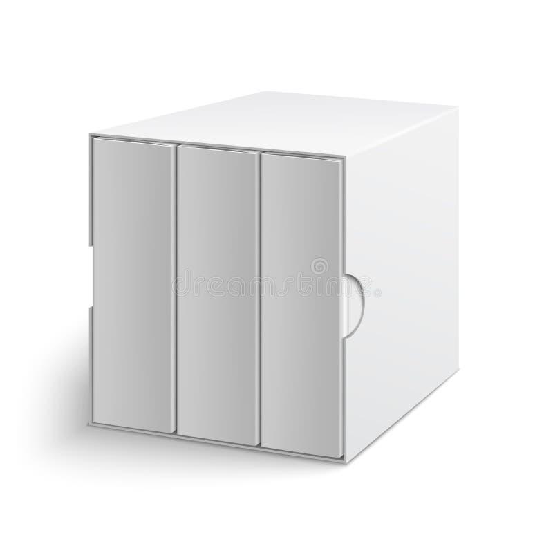 Cubierta de caja gris blanca con el grupo de libros en blanco libre illustration
