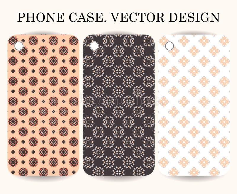 Cubierta de la caja del teléfono con el fondo ornamental Elementos geométricos decorativos ilustración del vector