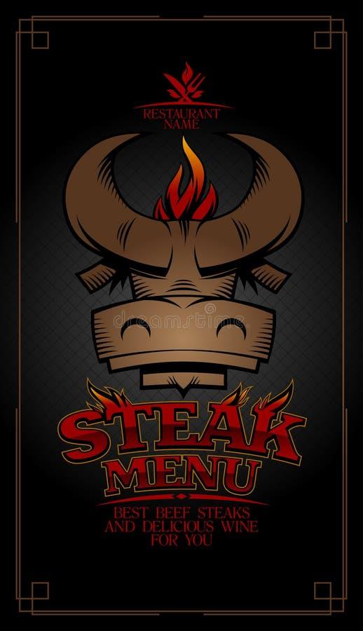 Cubierta de la tarjeta del menú del filete con la cabeza del toro ilustración del vector