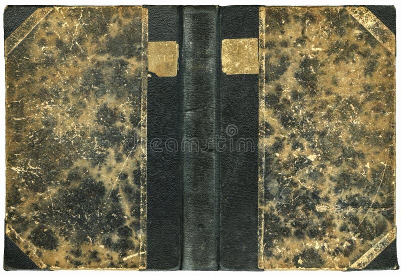 Cubierta de libro abierta del vintage con la superficie sucia rasguñada imágenes de archivo libres de regalías