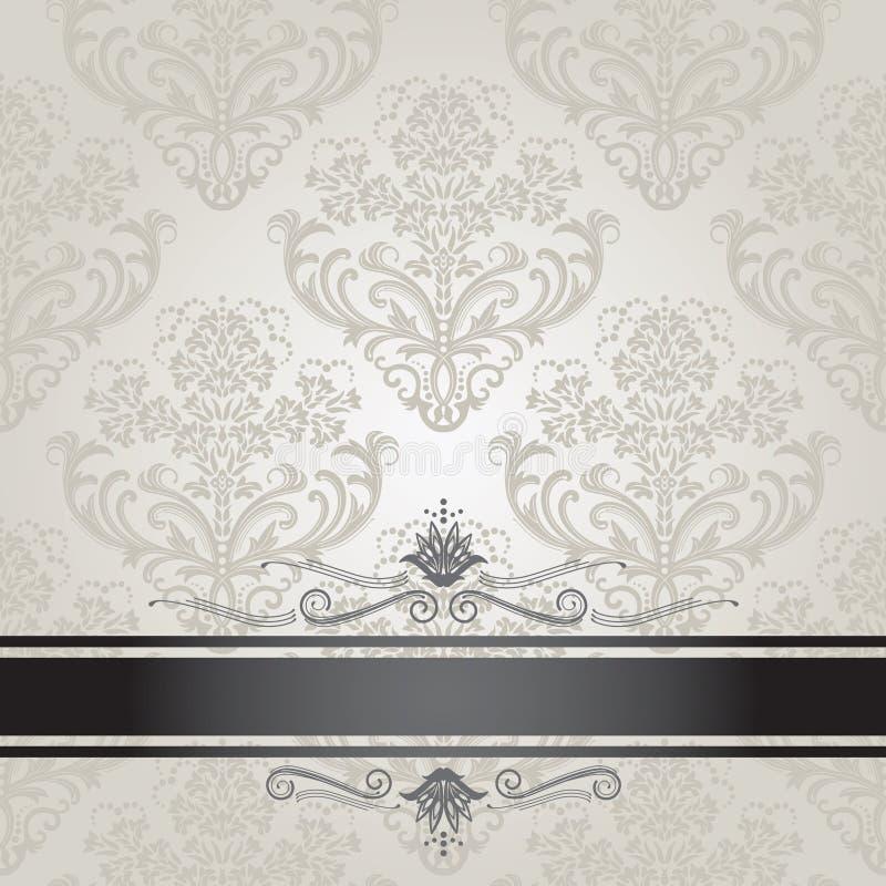 Cubierta de libro de plata floral de lujo stock de ilustración